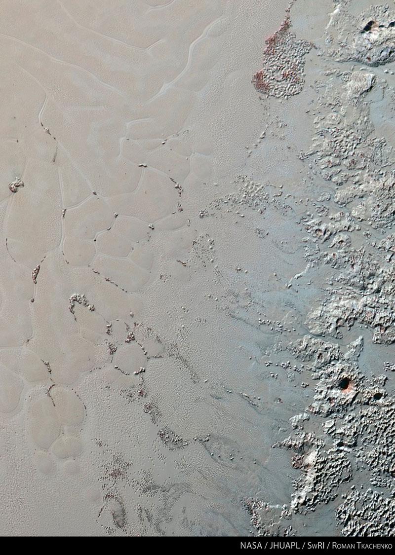 Los icebergs de Plutón en color