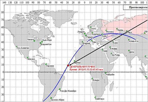 Última predicción de Roscosmos