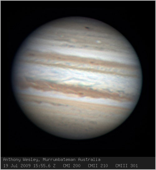 Impacto sobre Júpiter por Anthony Wesley