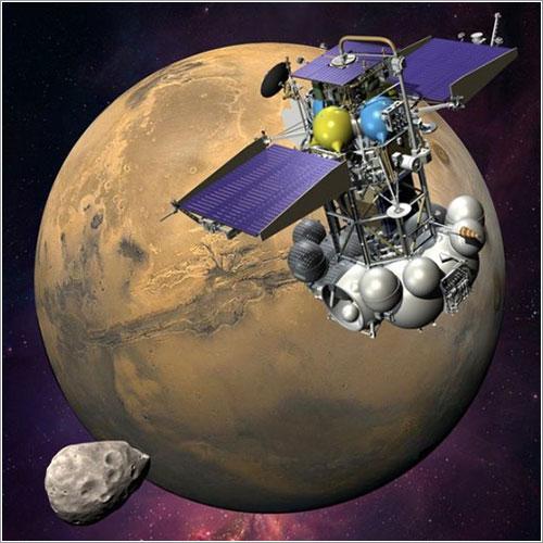 Impresión artística de la sonda en órbita de Marte