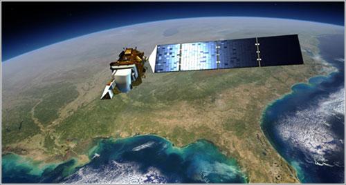 Impresión artística del Landsat 8 en órbita