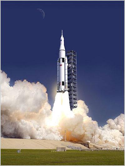 Impresión artística de un lanzamiento del SLS - NASA