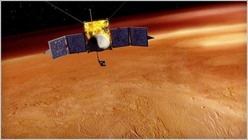 Impresión artística de la MAVEN en órbita alrededor de Marte