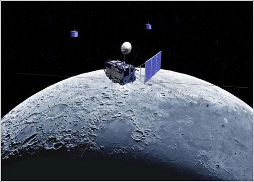 Impresión artística de la sonda Kaguya en órbita - JAXA
