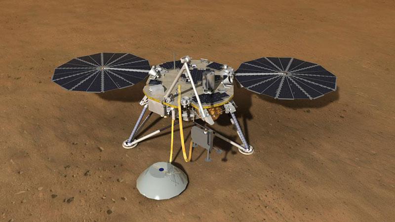 Impresión artística de Insight en Marte