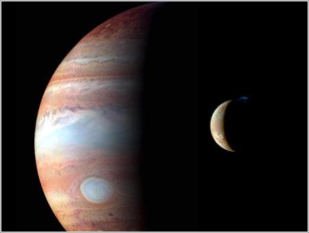 Jupiter e Ío vistos por la sonda New Horizons