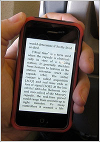 Un libro de Kindle en un iPhone
