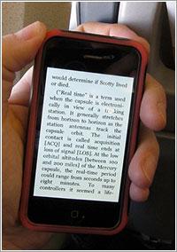 Un libro de Kindle en un iPhone