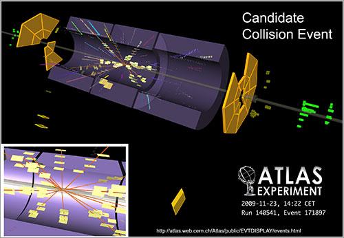 Representación en 3D de la primera colisión en ATLAS