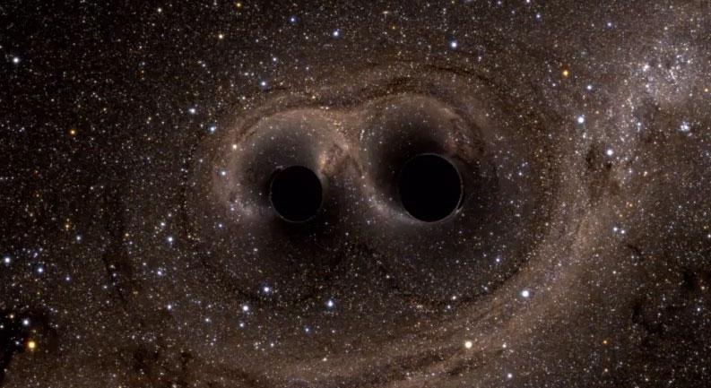 Impresión artística de los dos agujeros negros colisionando