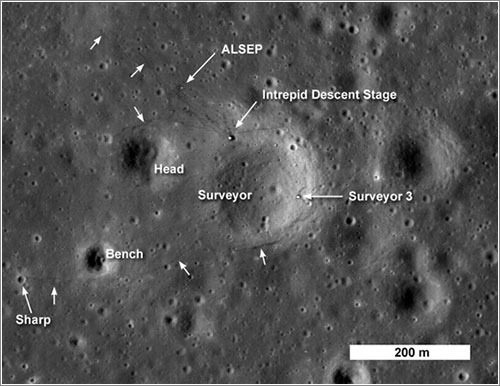 Apolo 12 y Surveyor 3 por la LRO - NASA/Goddard Space Flight Center/Arizona State University