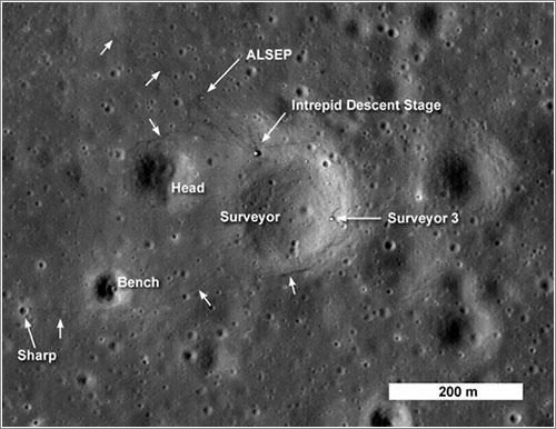 Apolo 12 y Surveyor 3 por la LRO - NASA/Goddard Space Flight Center/Arizona State University