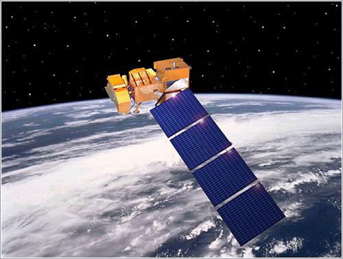 Impresión artística de un Landsat en órbita