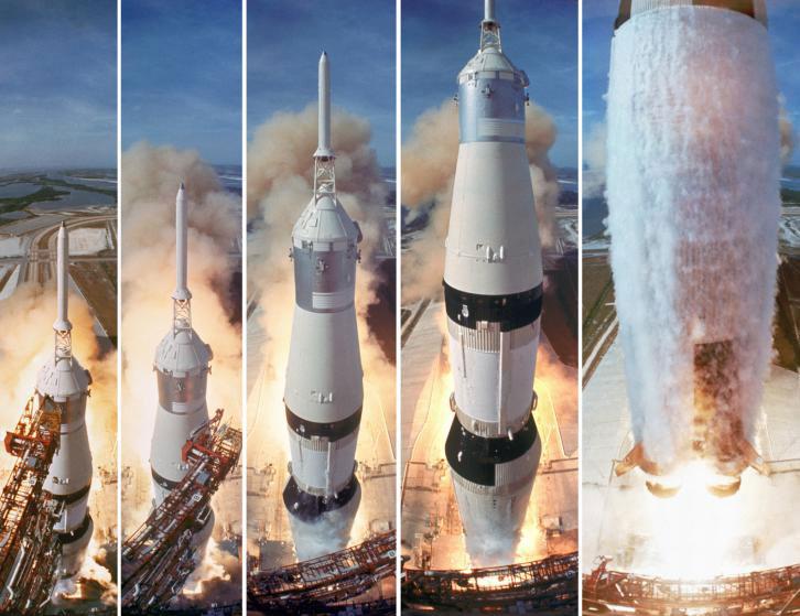Varios cuadros del lanzamiento del Apolo 11