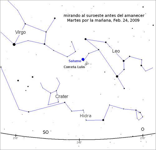 Mapa para observar el cometa Lulin el 24/2/2009