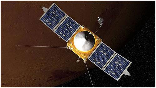 Impresión artística de MAVEN en órbita