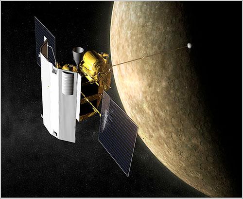 Impresión artística de la Messenger en órbita - NASA / JHU/APL