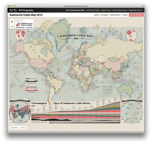 Mapa de los cables submarinos