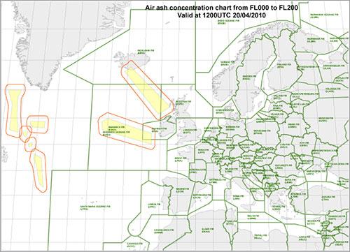 Mapa zonas de vuelo restringido 20-4-2010 a las 12:00Z