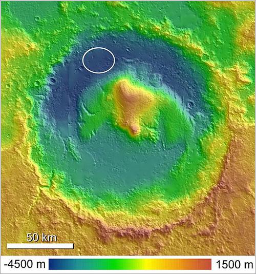 Mapa del cráter - Anderson y Bell, 2010