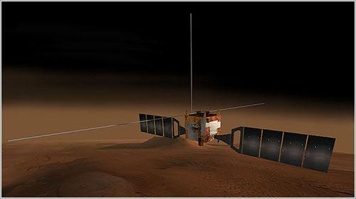 Impresión artística de la Mars Express en órbita