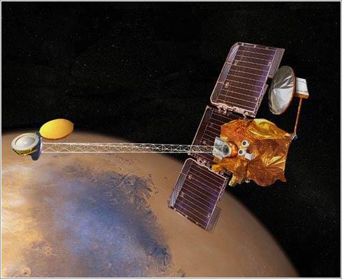 Representación artística de la Mars Odyssey en órbita - NASA