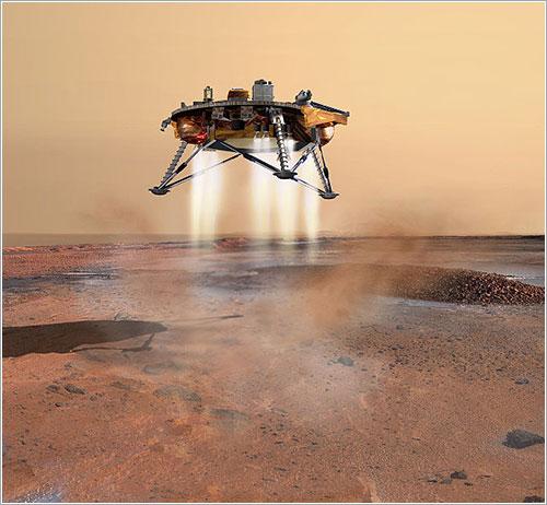 Concepción artística de la sonda posándose en Marte - Corby Waste/Jet Propulsion Laboratory/NASA