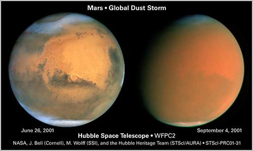 Tormenta global de polvo en Marte