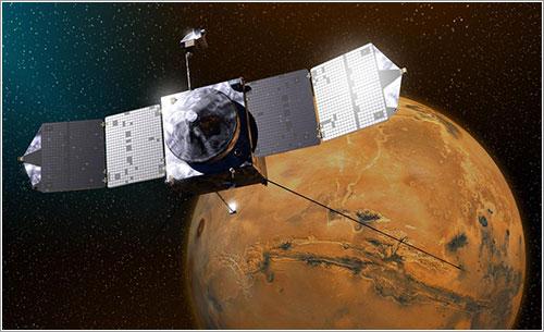 Impresión artística de MAVEN en órbita alrededor de Marte