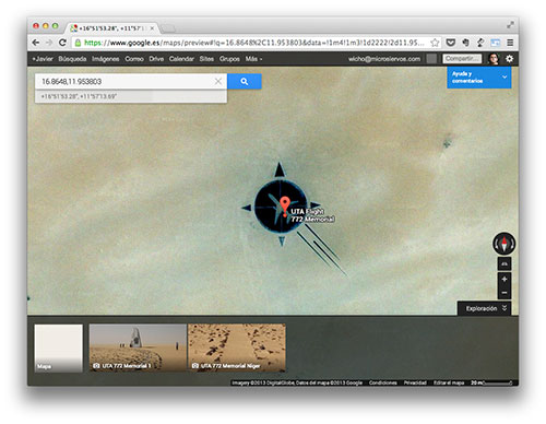 El memorial en Google Maps