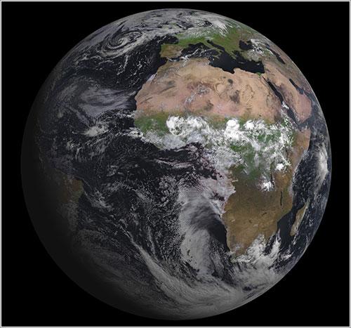 Primera imagen de la Tierra adquirida por el Meteosat 10 - Eumetsat