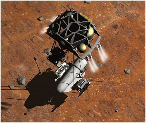 Impresión artística del aterrizaje de una misión de recogida de muestras en Marte