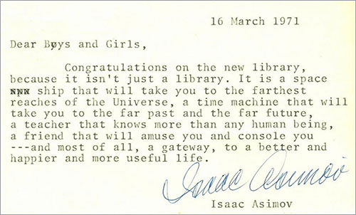 Nota de Isaac Asimov para la biblioteca de Troy