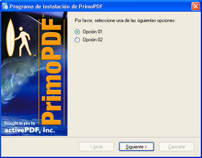 Opciones de instalación de PrimoPDF