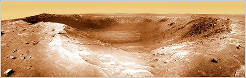 El cráter Santa María visto por Opportunity - NASA/JPL/Cornell Marco Di Lorenzo, Kenneth Kremer