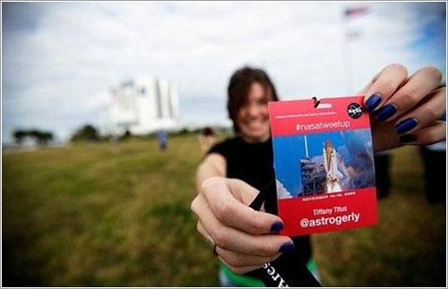 Una participante del Tweetup de la STS-129