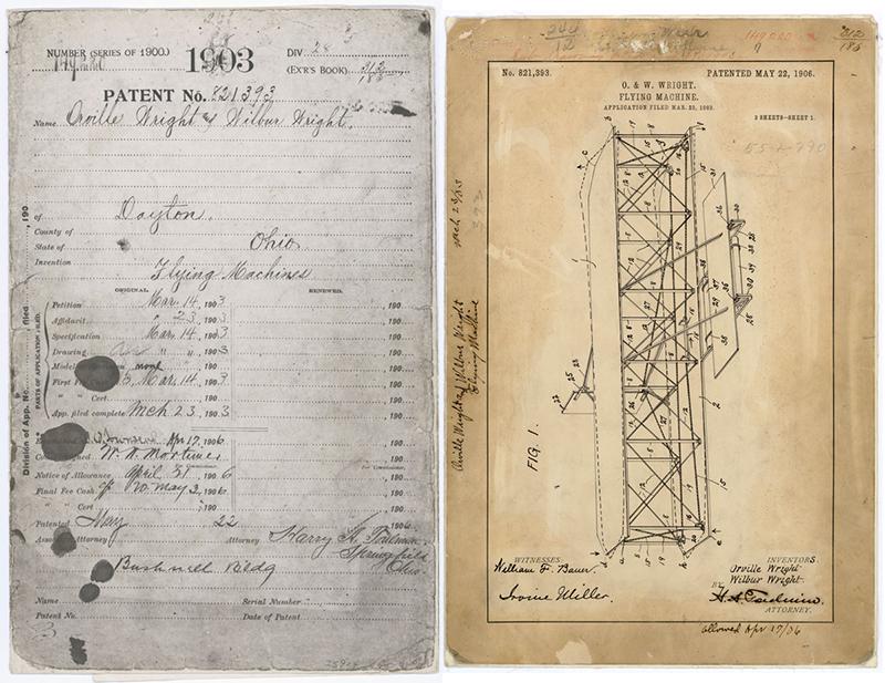 Dos hojas de la patente del avión de los hermanos Wright
