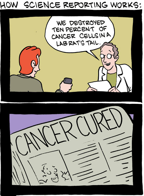 Cómo funciona el periodismo sobre ciencia por Saturday Morning Breakfast Cereal
