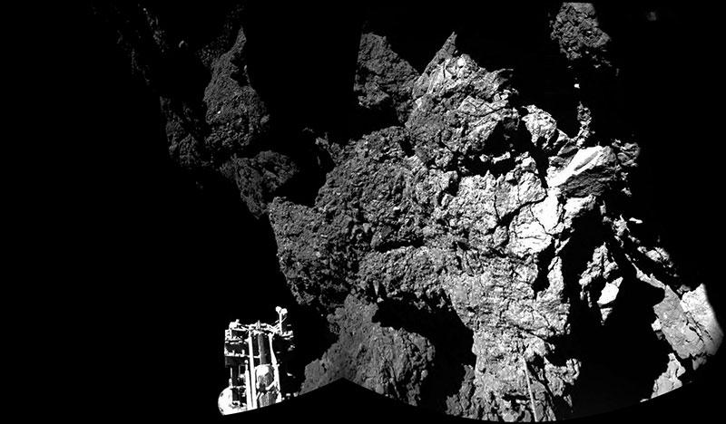Una de las patas de Philae sobre 67P