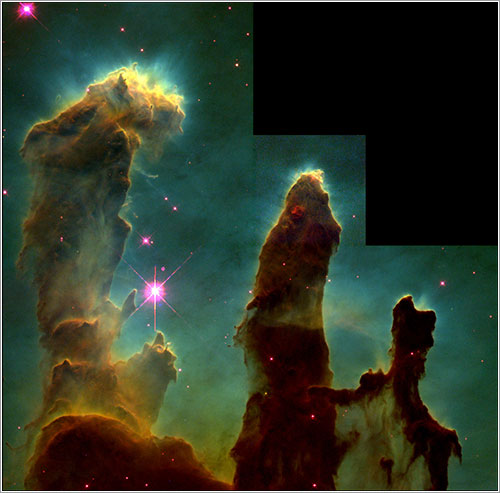 Pilares de la creación por el Hubble en 1995