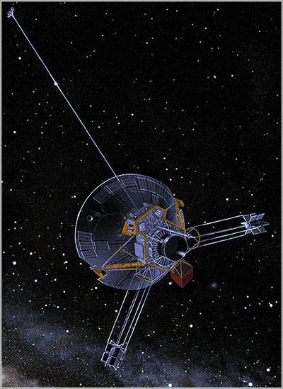 Representación artística de la Pioneer 11 en el espacio