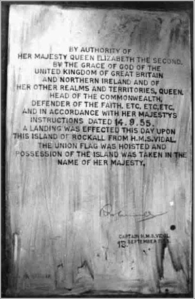 La placa que reclama la soberanía de Rockall