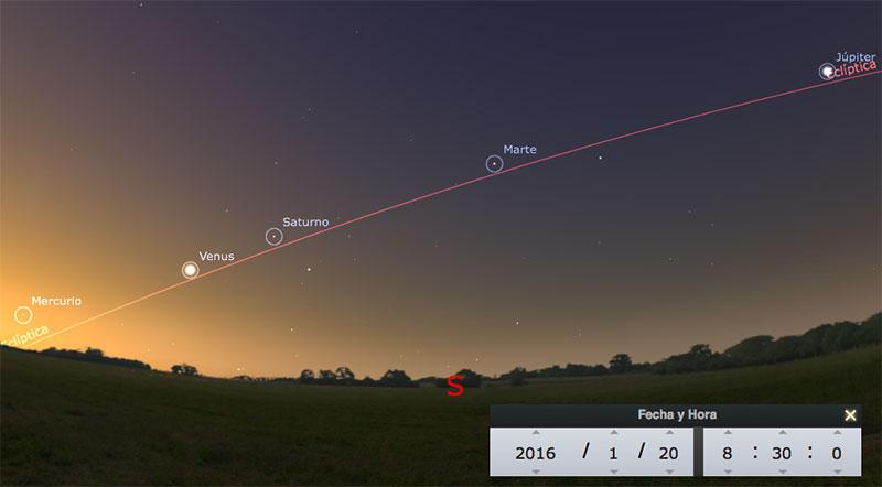 Los cinco planetas clásicos en enero de 2016