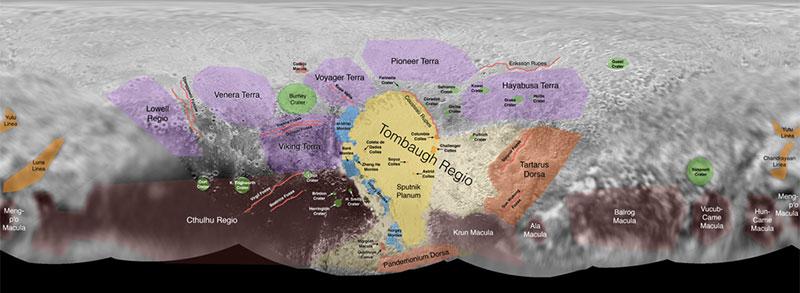 Mapa de Plutón con nombres