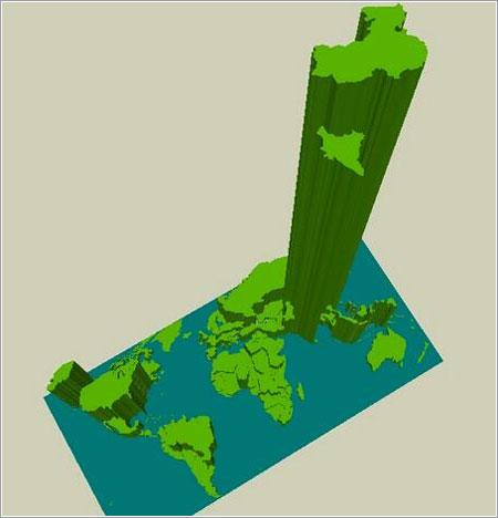Población mundial en 3D