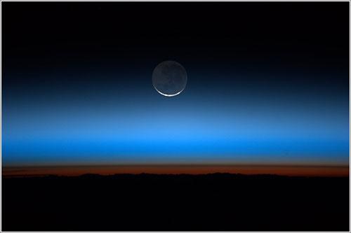 Puesta de Sol y de Luna desde el espacio