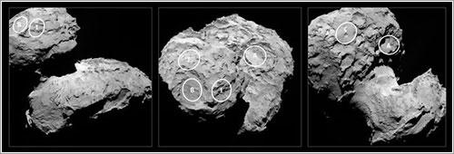 Posibles puntos de aterrizaje de Philae