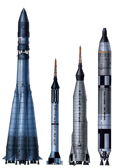El R-7 comparado con lanzadores de los EEUU de su época