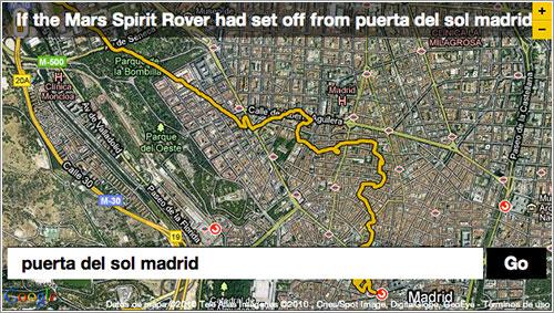 El recorrido de Spirit si hubiera partido de la Puerta del Sol en Madrid