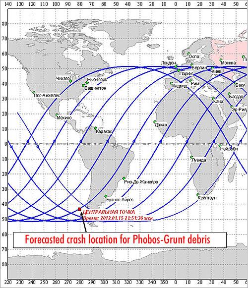Mapa por Roscosmos